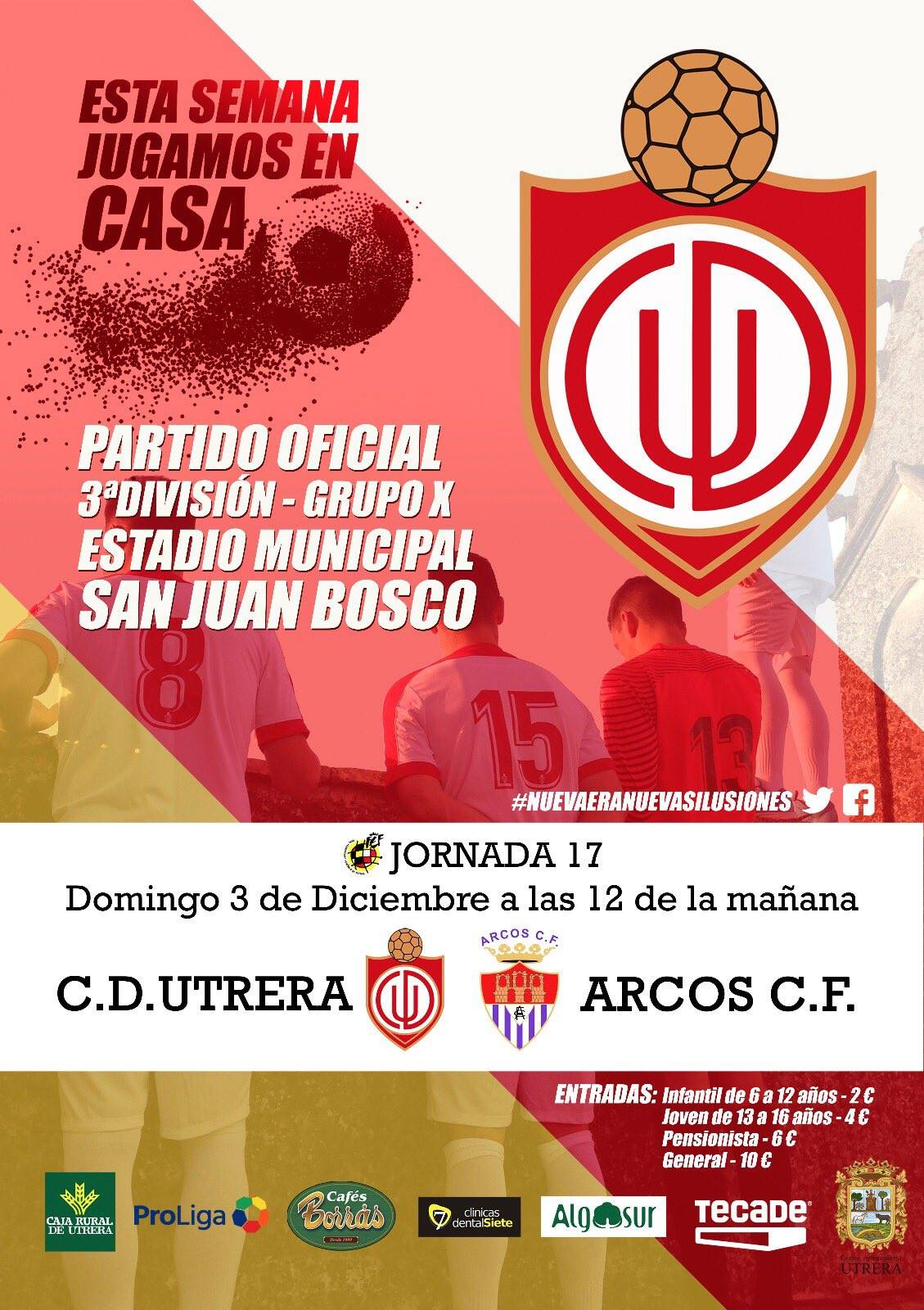 Jornada 17 de Tercera División Grupo X. CD Utrera vs Arcos CF