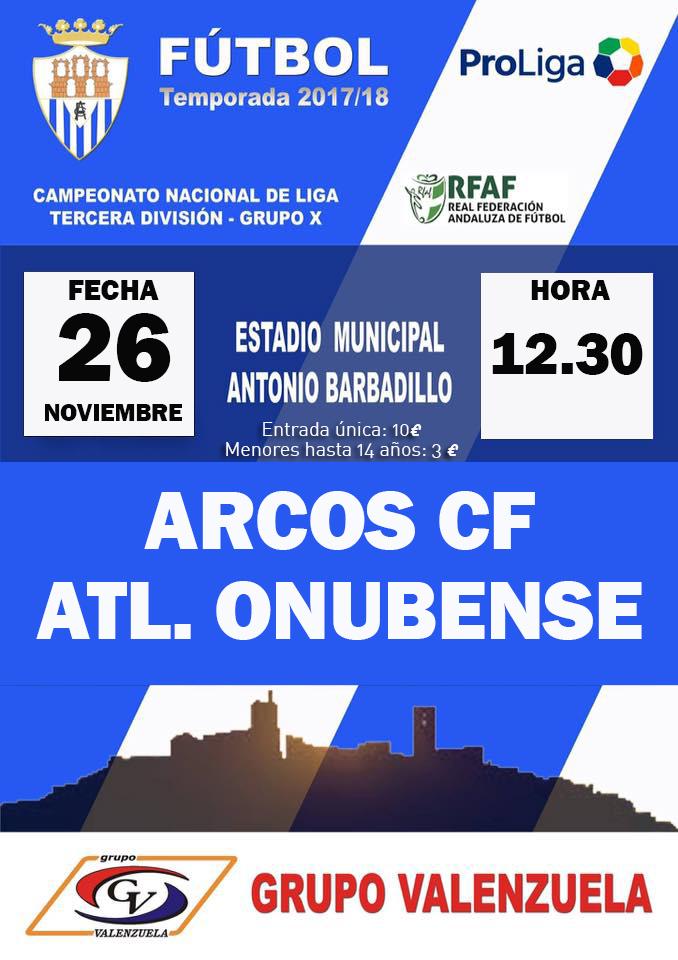 Jornada 16 de Tercera División Grupo X. Arcos CF VS Atlético Onubense