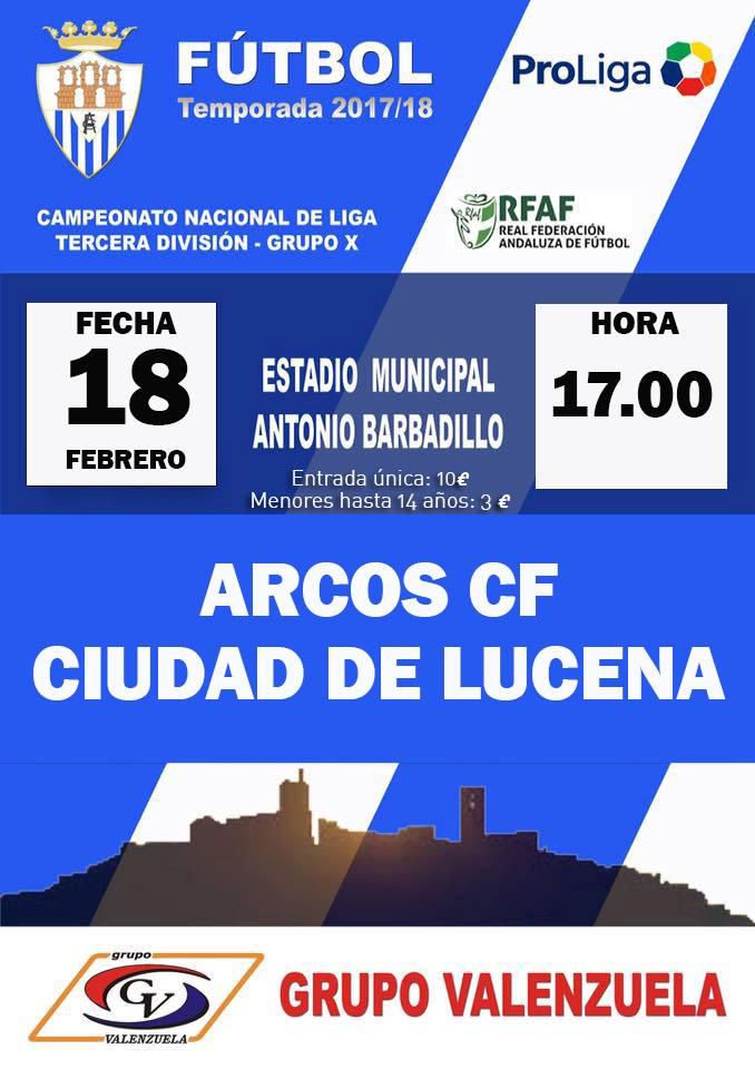 Jornada 26 de Tercera División Grupo X. Arcos CF vs Ciudad de Lucena CD