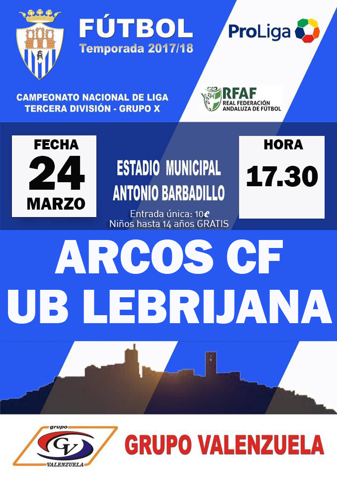 Jornada 32 de Tercera División Grupo X. Arcos CF vs UB Lebrijana