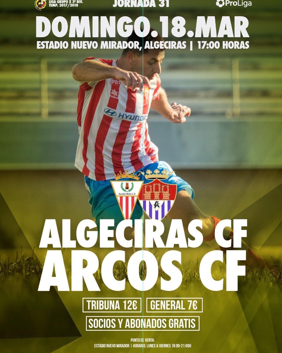 Jornada 31 de Tercera División Grupo X. Algeciras CF vs Arcos CF